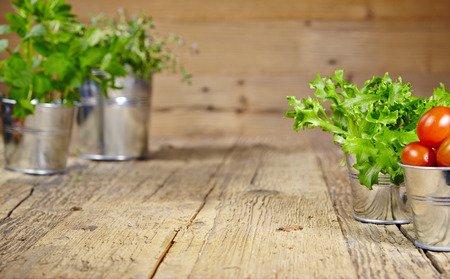 Fresh herbs on a rustic table in late day sunlight photo