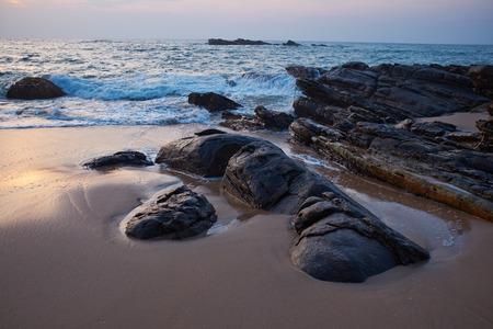 beautiful vivid sunrise  on Sri Lanka beach.