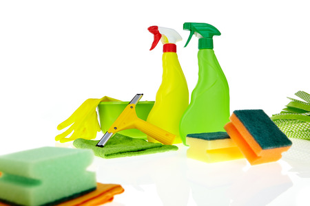 disinfect: cleaning equipment isolated on white