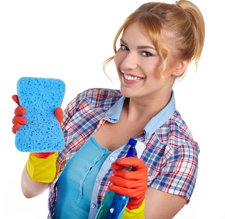 young woman cleaning on white  photo