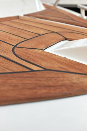 teck: Sailboat bow, wood deck detail,