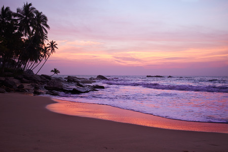 Sunset on the ocean, Sri Lanka beach photo