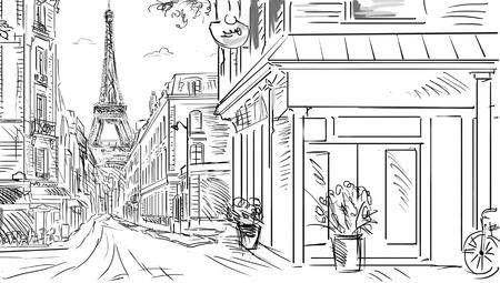 francia: Calle de París - ilustración boceto