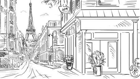 Street in paris - sketch  illustration Stock fotó - 27443171
