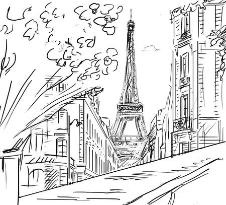 Street in paris - sketch  illustration  illustration