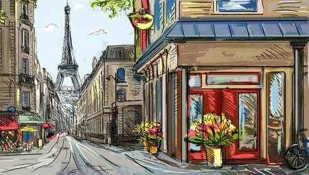 Street in paris - illustration Stok Fotoğraf - 27458958