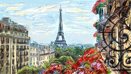 Straat in Parijs - illustratie
