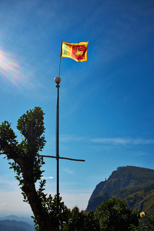 Flag in Landscape with green fields of tea in Sri Lanka  photo