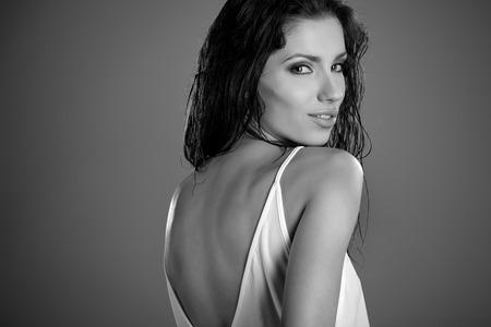 BW portrait of a beautiful woman photo