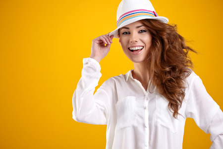 clothing model: Summer smiling woman in studio portrait  Stock Photo