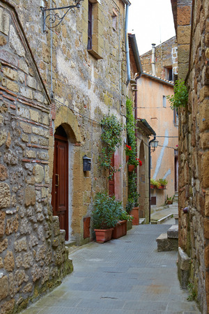 narrow street: Narrow Alley With Old Buildings In Italian City