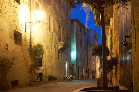 exterior shape: Old Town Pienza, Tuscany  night scene