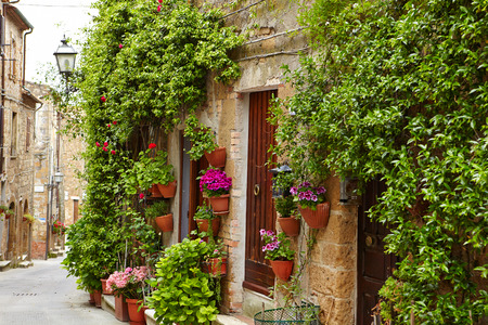 Colorful flowers lining a medieval stone wall in Italy photo