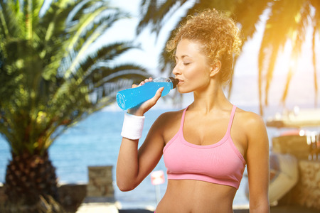athletic wear: Fit woman in nature.Tropical resort