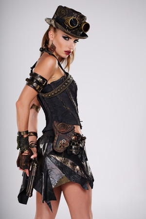 robot girl: Steampunk isolated woman. Fantasy fashion for cover.