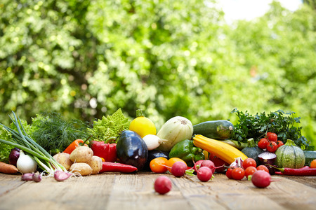 Fresh organic vegetables ane fruits on wood table  in the garden  Imagens