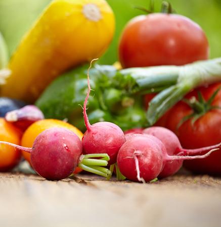 alimentacion balanceada: Vegetales orgánicos frescos Ane frutas en la mesa de madera en el jardín