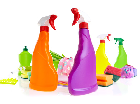 Cleaning product plastic container for house clean on white background  photo