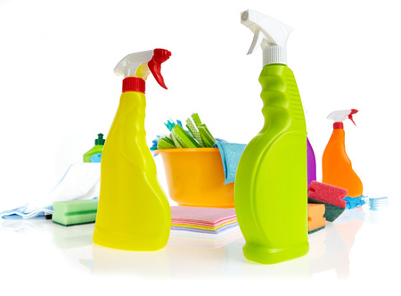 dish washing: Cleaning product plastic container for house clean on white background  Stock Photo