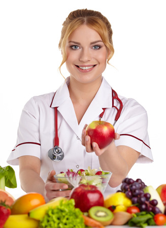 dietitian: Doctor dietitian recommending healthy food Stock Photo