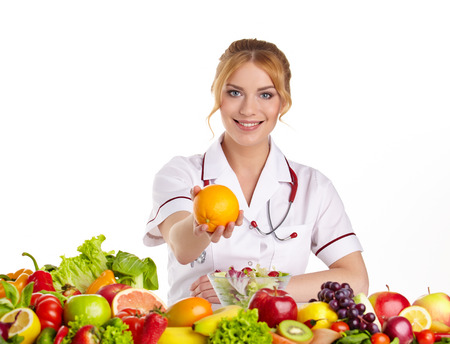 recommending: Doctor dietitian recommending healthy food Stock Photo