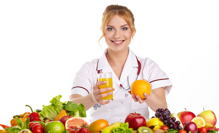 nutritionist: Doctor dietitian recommending healthy food Stock Photo