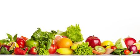 comiendo fruta: Frutas y vegetales fronteras  Foto de archivo