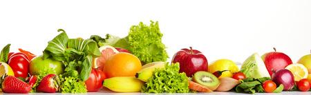 comiendo frutas: Frutas y vegetales fronteras  Foto de archivo