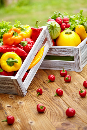 vegetables in a wooden box photo