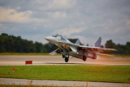 Jet fighter takeoff