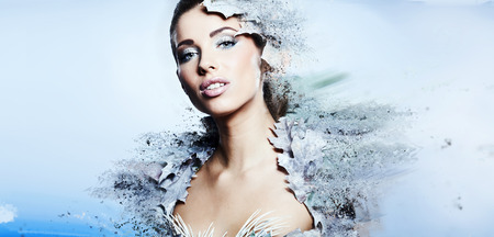 Winter woman  in a dress of Snow Queen  photo