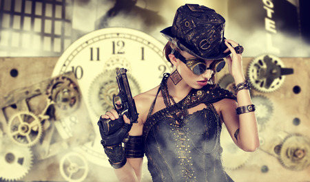 futurism: A steampunk woman stands on a background of abstract clock