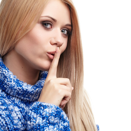 Expressive portrait of a beautiful blonde girl photo