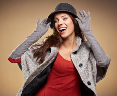 young brunette woman portrait in autumn color photo