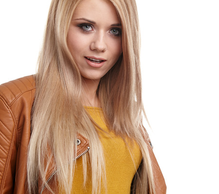 average woman: Pretty blonde girl half length portrait isolated on white