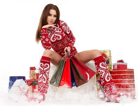 a beauty winter girl with christmas gift photo