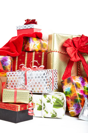 Gift boxes and christmas bags,Isolated on white. photo