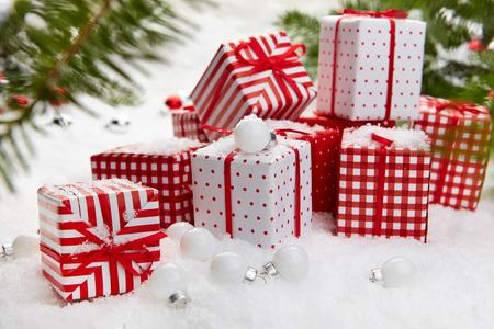 Christmas gift on snow photo