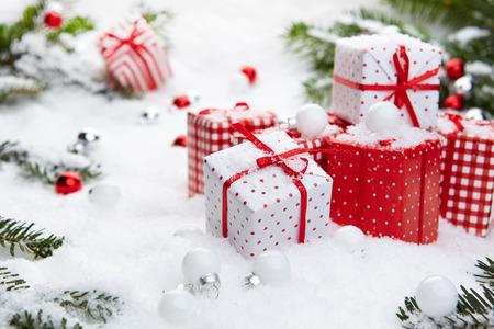 christmas gift: Christmas gift on snow