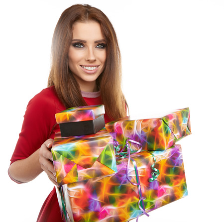 santa helper: Picture of cheerful santa helper girl with gift box Stock Photo