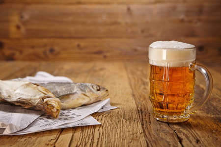 dried fish: Russian snack . Beer and dried fish