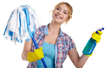 housewife cleaner. Isolated over white background photo