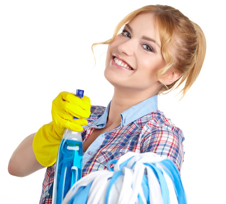 charlady: housewife cleaner. Isolated over white background