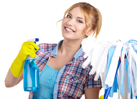 messy house: housewife cleaner. Isolated over white background