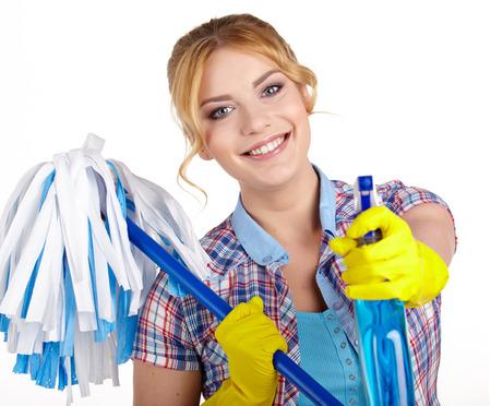 attraktiv: Hausfrau cleaner. Isolierte über weißem Hintergrund Lizenzfreie Bilder