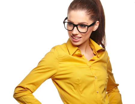 smooth hair: business woman in glasses
