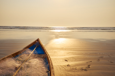 beached: Old beached fishing Boat - Asian Style