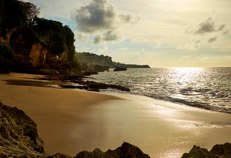 st lucia: Amazing  beach destination sunrise or sunset with beautiful breaking waves Stock Photo
