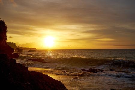 inlet bay: Amazing  beach destination sunrise or sunset with beautiful breaking waves Stock Photo