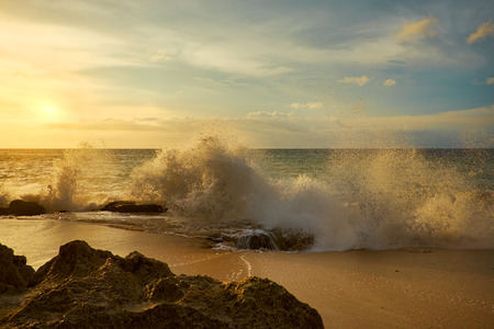 Amazing  beach destination sunrise or sunset with beautiful breaking waves Stock Photo